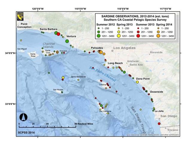 Map illustrating Pacific sardine observations