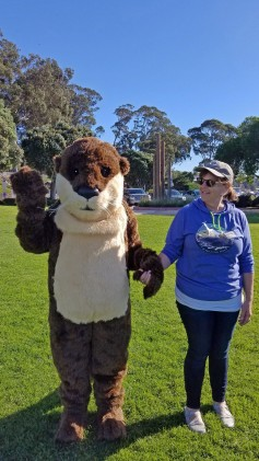 Collaborative members Gena Bentall of Sea Otter Savvy and State Parks Interpreter Robin Hazar disguised as a sea otter.