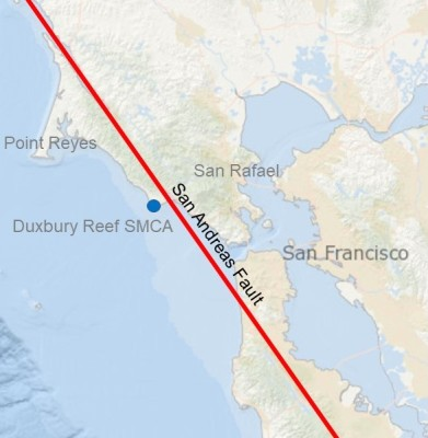 map of San Andreas Fault over coastline